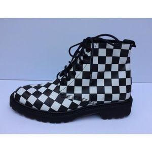 Saint Laurent Black White Checkered Leather Bootie